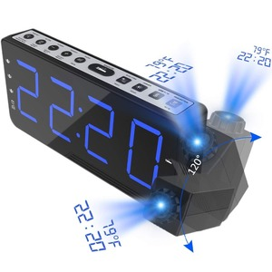Image 1 - FM Radio Alarm Clock with time Projection Temperature Electronic Table Watch Bedside Desk Projector watch nixie Digital Clock