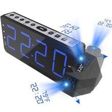 Rádio fm alarme relógio com projeção de tempo temperatura eletrônico relógio mesa cabeceira projetor relógio nixie digital