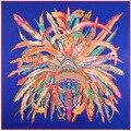 130 cm * 130 cm de Las Mujeres 2016 Nueva Manera de La Tela Cruzada de Seda Euro Marca India Corona de plumas de Impresión Horse Print Bufanda Cuadrada Venta Caliente Femal Wrap