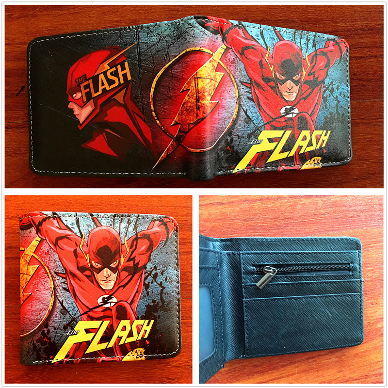 2018 new comics The Flash wallet Unisex Leather Pu Short folding Purse Billfold wallet credit card holder wallet W687 2016 new arriving pu leather short wallet the price is right and grand theft auto new fashion anime cartoon purse cool billfold