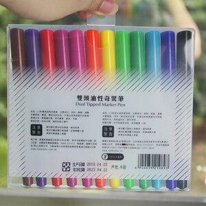 Image 5 - 12 sztuk SIMBALION 12 kolory podwójny z markerem z długopis na bazie oleju Marker permanentny artykuły papiernicze artykuły biurowe szkolne materiały malarskie dostawy nowy