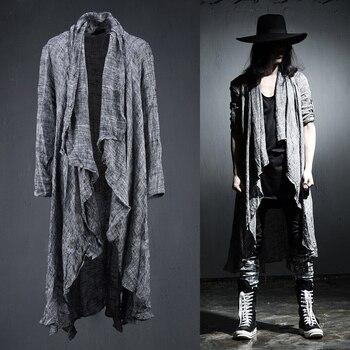 Male long-sleeve shirt linen men's clothing top medium-long personalized novelty costumes dj