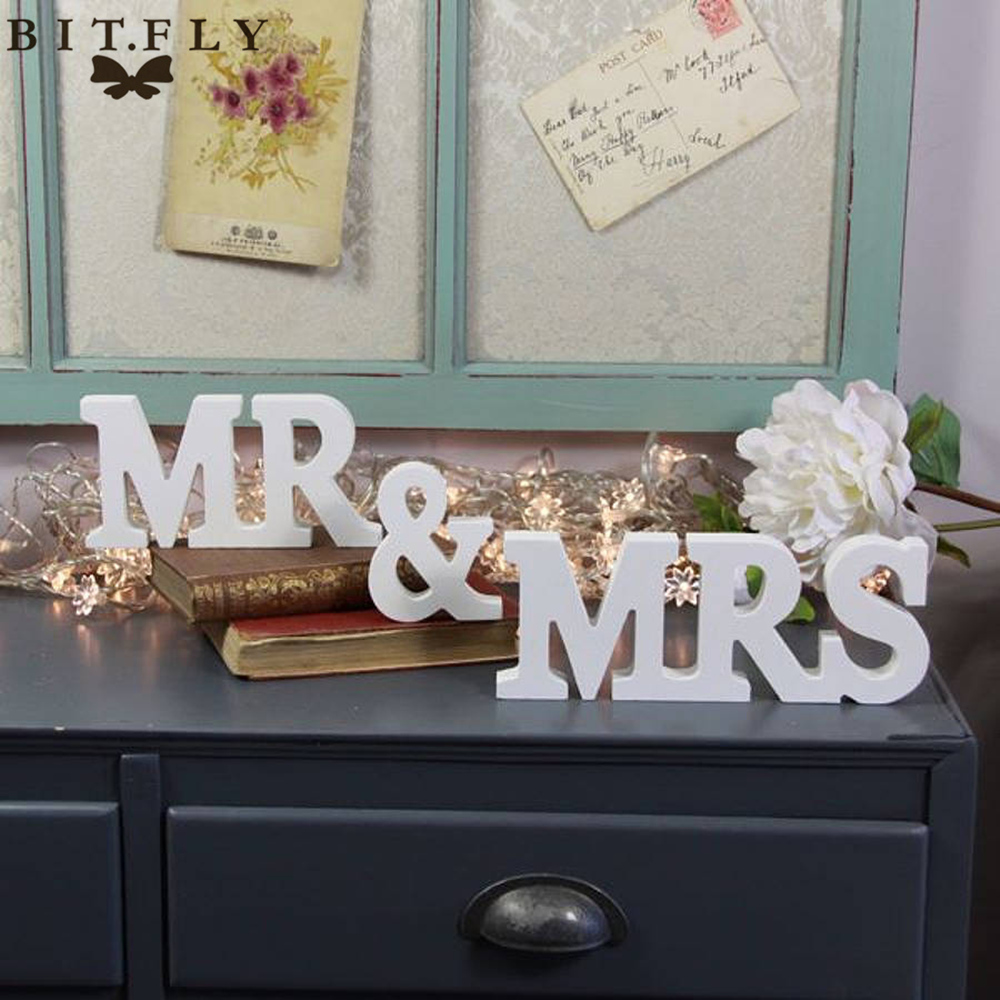 1 set solid capital mr mrs wooden letters for wedding for Top wedding decor