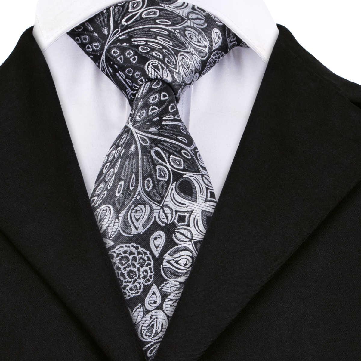 Модные формальные мужские галстуки Серые Цветочные ЖАККАРДОВЫЕ для мужчин