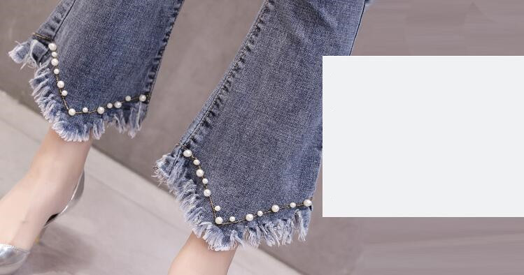 High Waist Women Jeans Flare Pants Tessal Bead Slim Fashion Pants High Waist High Elastic Ankle-Length Denim Trousers 10