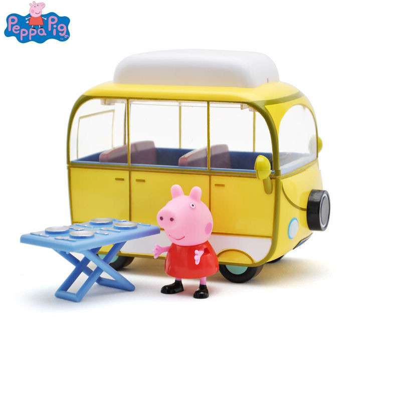 Peppa Pig Pepe Pig Family Camper Toys Doll Action Figures Family Member Toys Early Learning Educational toys beagle dog family mini size sylvanian family original figures anime cartoon figures toys child toys gift animal doll