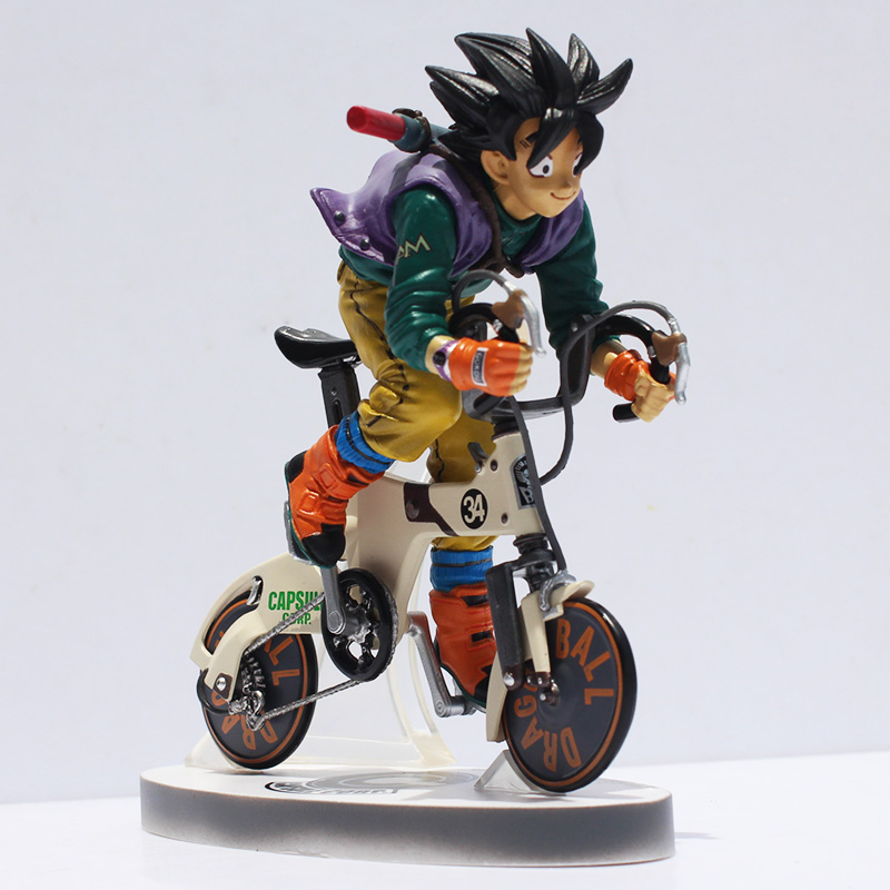 Dragon Ball Z Sun Gokou Riding Bicycle Desktop Real McCOY Series 02 Action Figure Collectible Toy 16cm Great Gift anime dragon ball super saiyan 3 son gokou pvc action figure collectible model toy 18cm kt2841