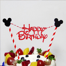 1 set Mickey Minnie Mouse Cupcake Cake Topper Cartoon Animal Cake Flags With Paper Straw K