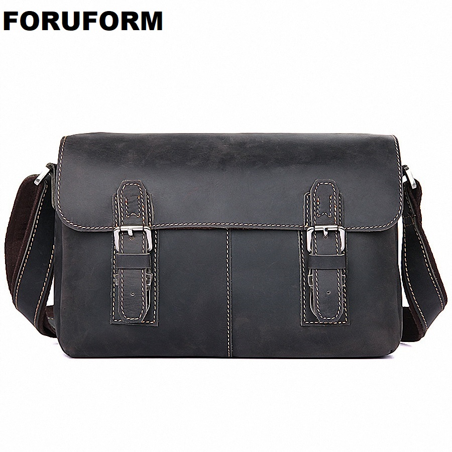 HOT 2018 Genuine Leather Bags Men High Quality Casual Leather Messenger Bags Small Travel Crossbody Shoulder Bag For Men LI-2031 hot 2018 genuine leather bags men high quality messenger bags small travel black crossbody shoulder bag for men li 1611