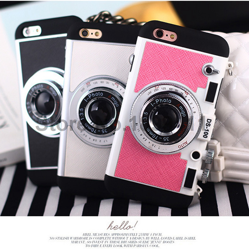 best service 06e8f 2a1ce US $12.8 |Cool Luxury 3D Camera Case For iPhone 5 5S SE 6 6s 6 Plus 6s Plus  Silicon PC Back Cover Strap Capa Womam Girl Cute High Quality on ...