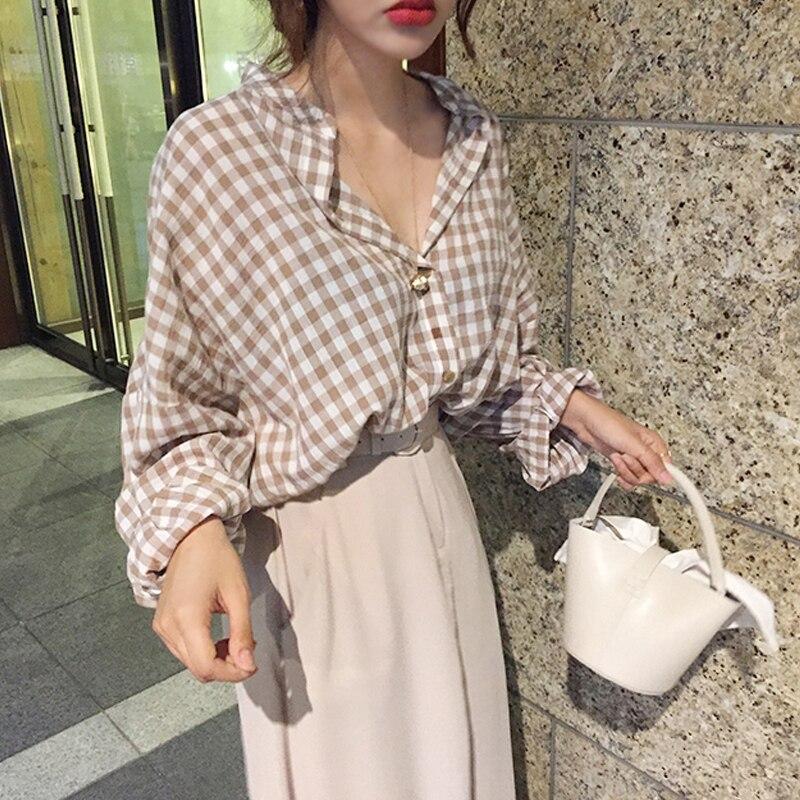 Mulheres Verão Outono de Algodão Xadrez Sexy V Long Neck Sleeve Tops Blusa Feminino Plus Size Camisa Casual Haut Femme Kimono roupas