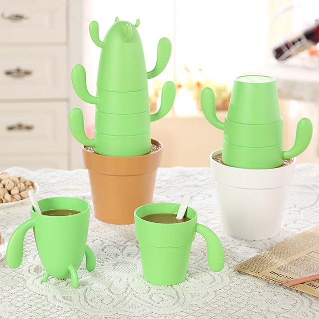 Творческий кактус Стиль Наборы для ухода за кожей из чашки с ложкой пластмасс 6 шт. охраны окружающей среды whater чашки