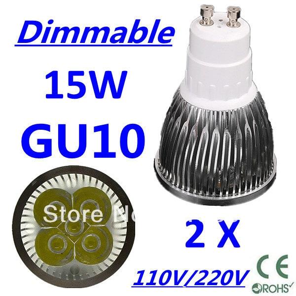 2pcs/lot CREE Dimmable LED High power GU10 5x3W 15W led Light led Lamp led Downlight led bulb spotlight Free shipping