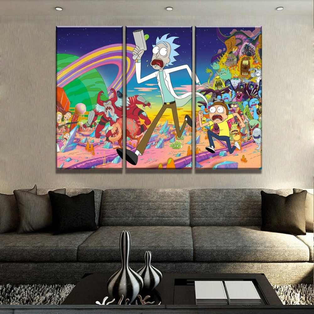 Modern Decor Framework Painting On Canvas Print Type Animation Poster Artwork 3 Piece Rick And Morty One Set Modular Picture