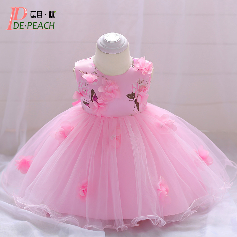 32d025bae66ae US $12.19 39% OFF|DE PEACH 2019 Infant Baby Girl Princess Baptism Dress  Baby Birthday Party Christening Gown Toddler Kids Flower Tulle Tutu  Dress-in ...