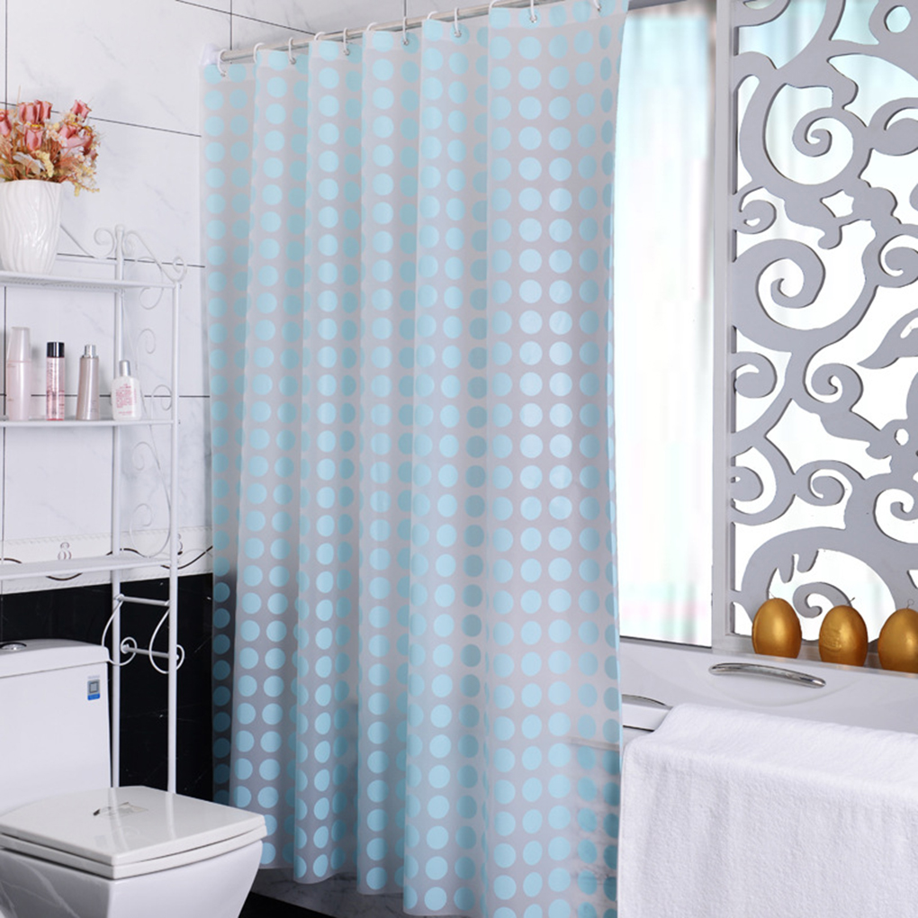 Retro Style Easy To Use Dot Peva Fabric Shower Curtain