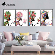 Modern Nordic Abstract flower girl Canvas Art HD Print Poster Wall Pictures for Home Decoration Painting No Frame(China)