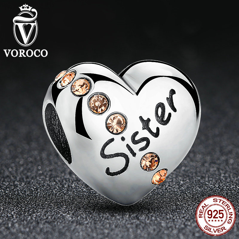 2016 New Trendy 925 Sterling Silver Sister Charms fit Pandora Bangles Jewelry Makings Friendship Gift C008