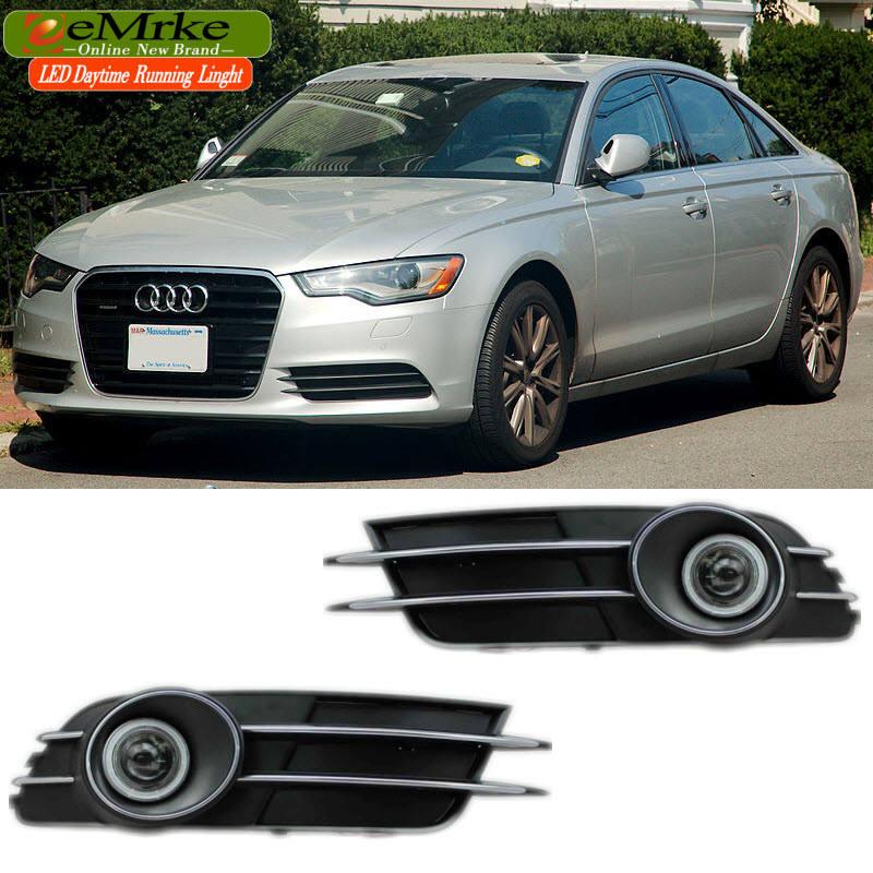 EEMRKE FOR Audi A6 C7 2012 to 2014 COB LED Angel Eyes DRL Driving Light Tagfahrlicht 12V Halogen Bulb H11 55W Fog Lights Lamp for opel astra h gtc 2005 15 h11 wiring harness sockets wire connector switch 2 fog lights drl front bumper 5d lens led lamp