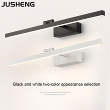 JUSHENG Modern Bathroom Wall light Over Mirror Indoor Black Sconces Lamps with Swing arm White Vanity Lights