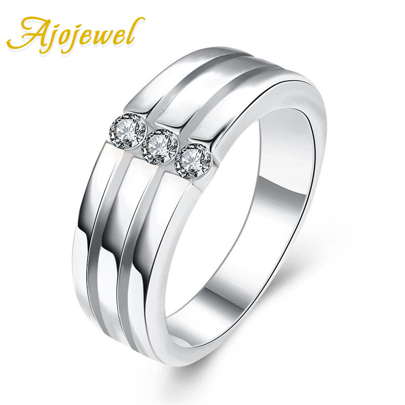 Ajojewel Simple Fashion Ring Men Cubic Zirconia Stone Men 39 s Rings Wholesale Drop Ship Bague Homme in Wedding Bands from Jewelry amp Accessories