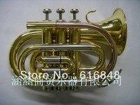 Bb Pocket Trumpet Yellow Brass Small Trumpet Brass Music Instruments