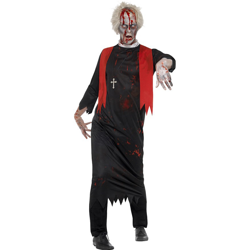 High Quality Male Adult New Halloween Costume Ghost Festival Goth Costume Christian Jesus Plays Pope Priest Male Black Cosplay C