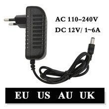 110-240 V AC/DC адаптер 12 В 1A 2A 3A 4A 5A 6A зарядное устройство с сетевым адаптером Универсальный Переключение питания 12 вольт светодиодное освещение полосы разъем