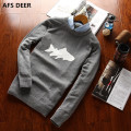 New Autumn Fashion Brand Casual Sweater O-Neck animal Slim Fit Knitting Mens Sweaters And Pullovers Men Pullover Men christams