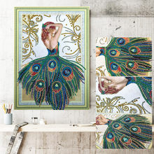 % 5d DIY 3D Peacock girl diamond embroidery Special Shaped Diamond Painting Needlework Rhinestone Crystal Painting home decor(China)