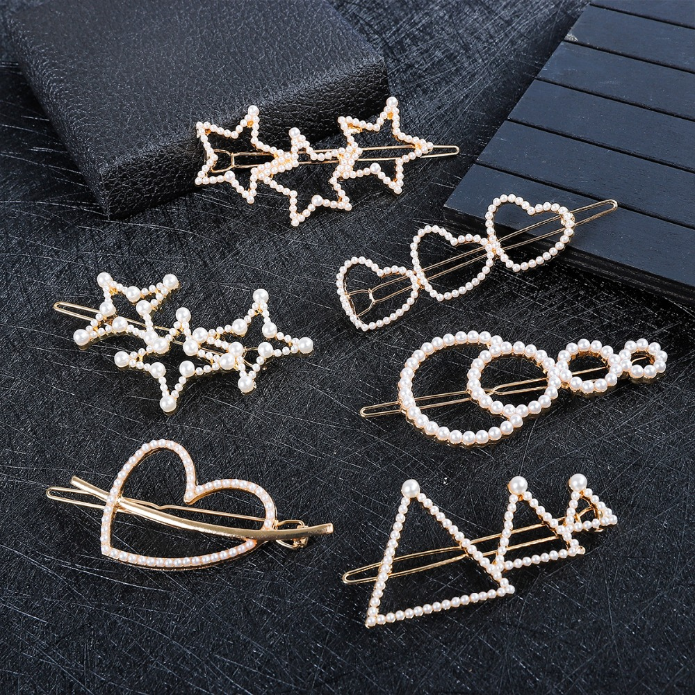 Korea Imitation Pearl Heart Star Hairpins Women Fashion LOVE KISS Letter Barrette Gold Color Hair Clips Hair Styling Accessories