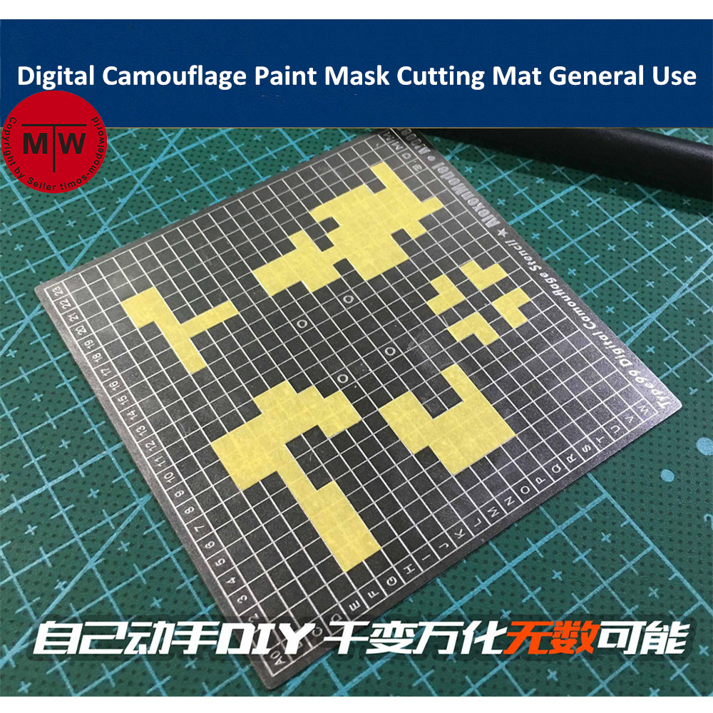 Digital Camouflage Paint Mask Cutting Mat Double Side General Use Groove Drawing Template Model Building Tool AJ0080