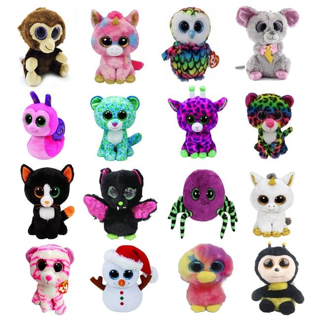 6bc31275b0b 10pcs lot Ty Beanie Boos Plush Toy Leopard Spider Unicorn Giraffe Monkey  Bat Beanie Babies