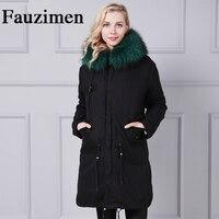 New fur coat parkas winter jacket coat women parka big real raccoon fur collar natural fox fur liner long outerwear