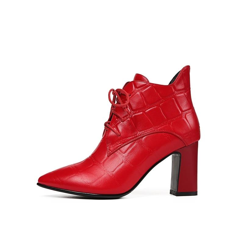 À 2018 42 34 Lacets Pour Croix Cuir En Qualité Carré Nouvelle Véritable Red Mode Taille Talon Haute attaché Femmes Bottines Chaussures Sexy Zvq EtHwq