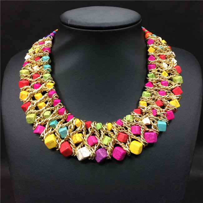 4b98ba03f478 Tejido a mano Collar de la turquesa Collar de mujer moda declaración  gargantilla Collar 2015 del nuevo diseño en Gargantilla Collares de Joyería  y ...