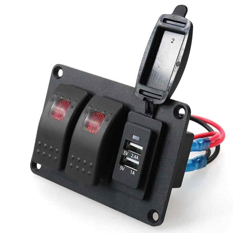 Adeeing motocicleta ATV conversión 2 interruptor de luz roja de una sola luz + cargador de coche 3.4A con 1 pc 49 patrones pegatina swich r29