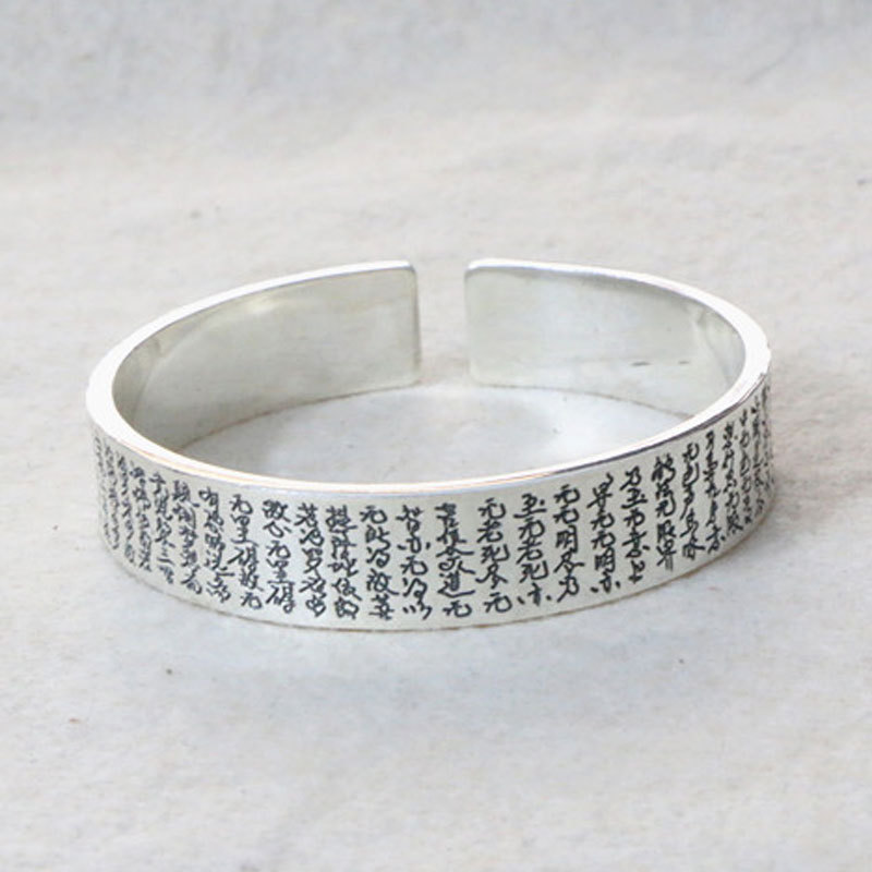 Starfield Silver S990 Sterling Silver Retro Thai Silver Heart Buddha Blessing Vintage Style Male Female Open Ended Bangle