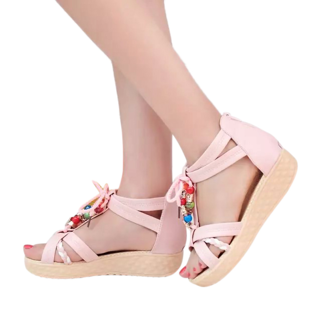 484aa95c2657 SAGACE Sandals Fashion Women Shoes Soild Color Beaded Beach Shoes Bohemian  Back Zipper Sandals Non Slip Ladies Sandals 9.DEC.12-in High Heels from  Shoes on ...