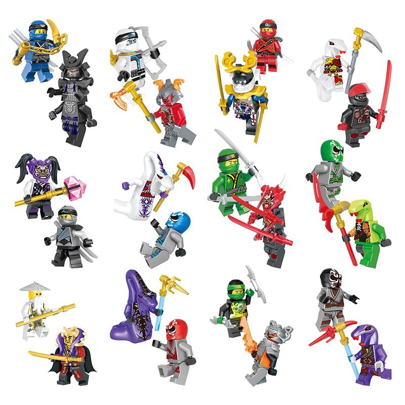 2pcs/lot Ninja Model Building Block Classic Action figures toys for Children gifts with NinjagoINGly LegoINGlys bricks Toys