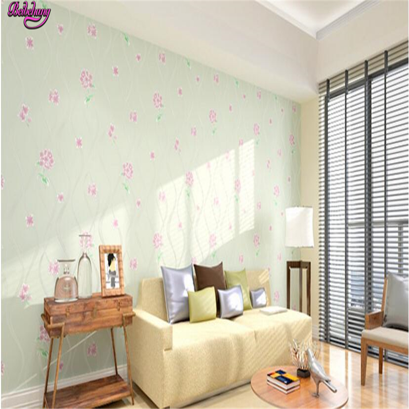 beibehang Non woven wallpaper pink green bedroom warm Korean pastoral wall paper 3d living room TV background papel de parede beibehang papel de parede retro classic apple tree bird wallpaper bedroom living room background non woven pastoral wall paper