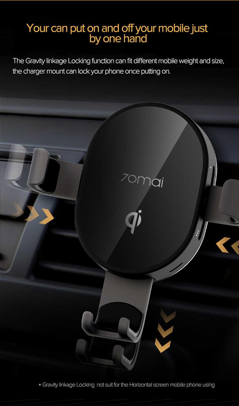 Qi Sem Fio Carregador de Carro Xiaomi 70mai 10W Suporte Do Carro Do Sensor Inteligente Rápido 70 mai Wirless Carregador de Suporte Do Telefone para auto carro