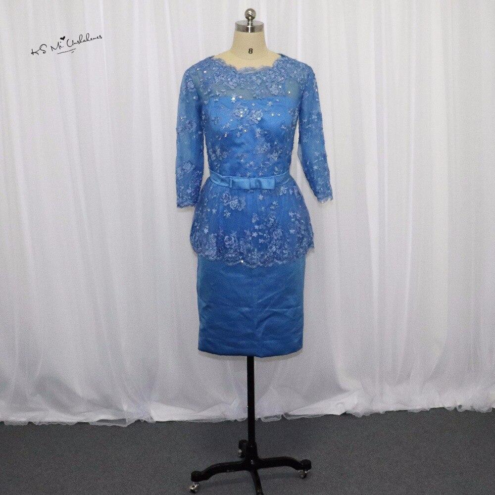 Vestido de festa azul real madre corta de la novia del novio ...