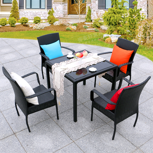 Cheap Outdoor Furniture Rattan Chairs Coffee Table Three Wujiantao Balcony  Garden Lounge Bar Cafe Tables And