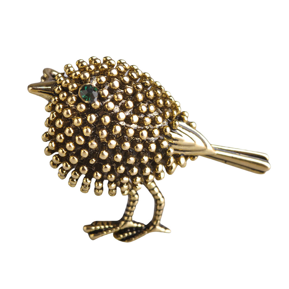 JieyueJewelry Silver gold color Cute Bird Brooches For Women Kids Gifts Alloy Beads Broches Lapel Pins Collar Tips Jewelry