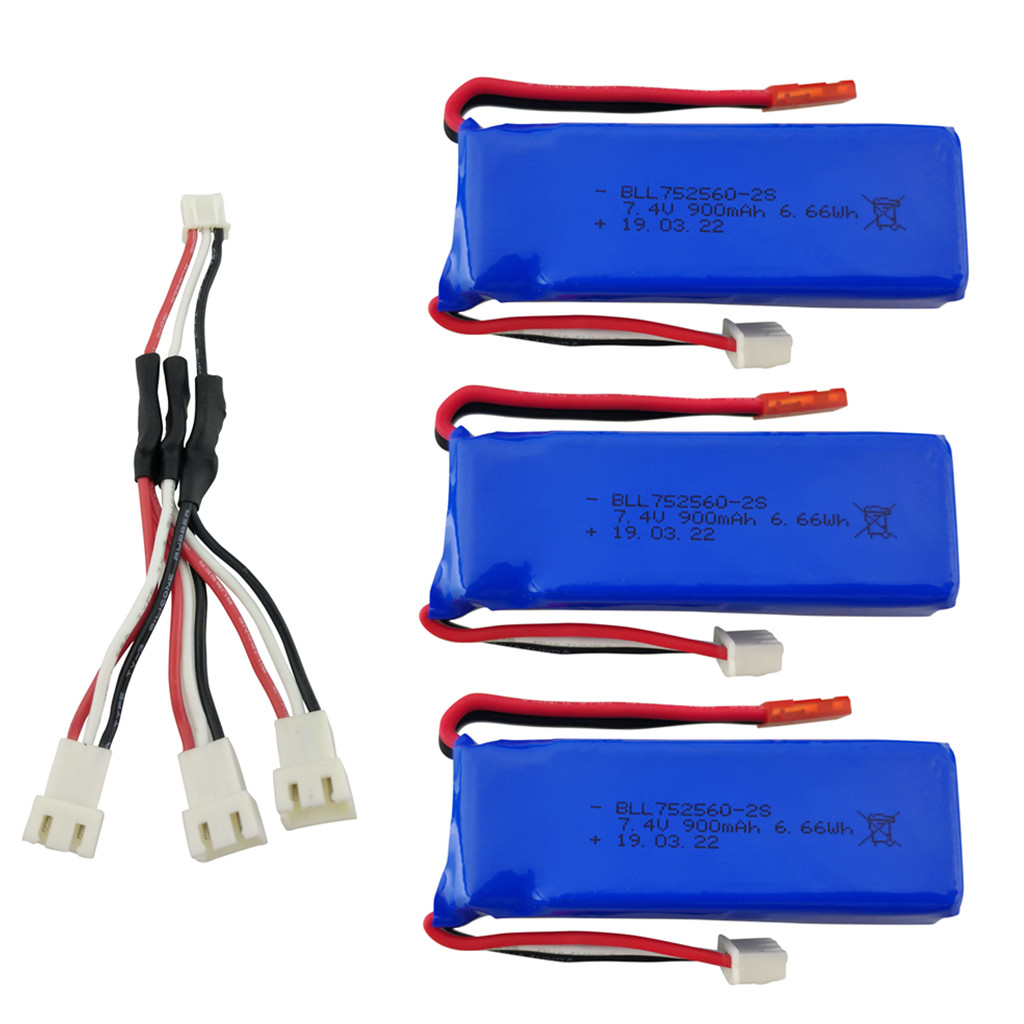 3PCS <font><b>7.4V</b></font> <font><b>900mAh</b></font> lithium battery with 1 to 3 charging converter for XK X520 XK X420 6 Channels brushless aileron 3D battery image