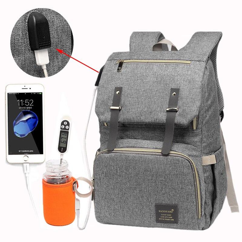 Pañal bolsa USB bebé pañal bolsa mamá papá mochila de gran capacidad impermeable bolsa de ordenador portátil ocasional recargable soporte para botellas