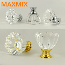 32mm European Style Single Hole Crystal Door Knobs Handle Wardrobe Cupboard  Drawer Furniture Small Handle Gold