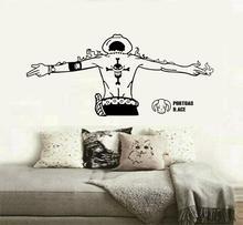 ワンピース壁ステッカー、エースハンサムバック、白ひげ海賊ロゴ、ボーイルーム海ファン装飾壁ステッカー HZW14