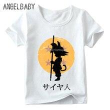 Детская футболка с принтом «Dragon Ball Goku Shadow», топы с короткими рукавами для маленьких мальчиков и девочек, Детские Мягкая футболка, HKP2185